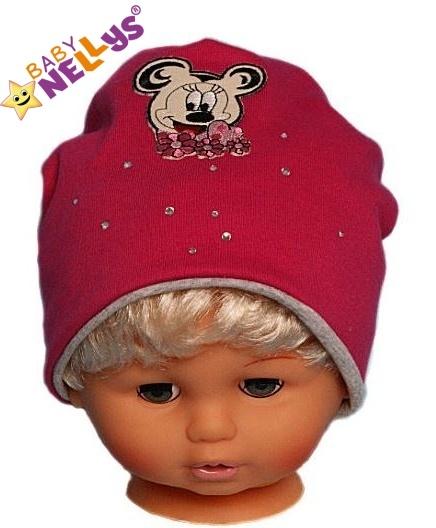 Bavlněná čepička Myška s kamínky Baby Nellys ® - sytě růžová, Velikost: 48/52 čepičky obvod