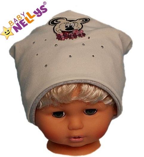 Bavlněná čepička Myška s kamínky Baby Nellys ®- smetanová, Velikost: 48/52 čepičky obvod
