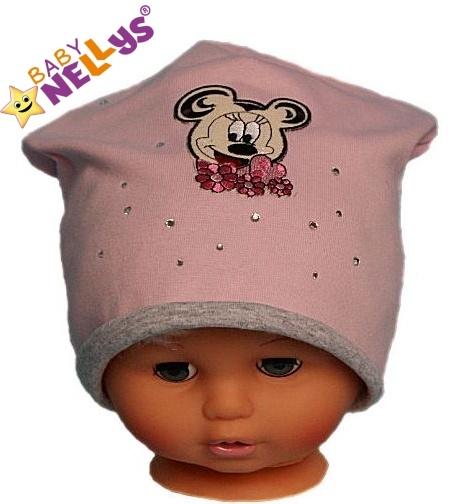 Bavlněná čepička Myška s kamínky Baby Nellys ® - sv. růžová, Velikost: 48/52 čepičky obvod