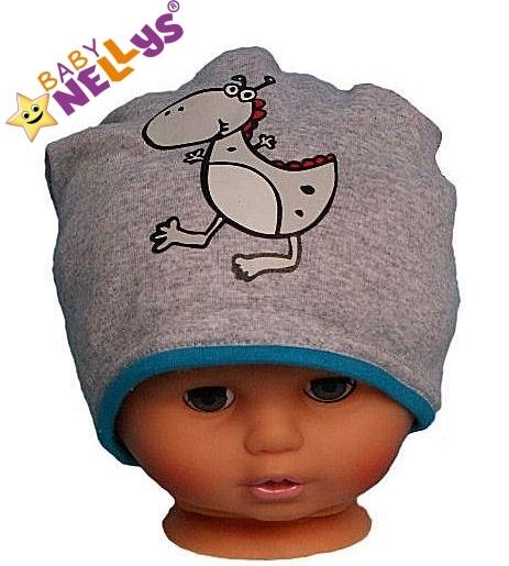 Bavlněná čepička Dino Baby Nellys ® - šedá - tyrkysový lem