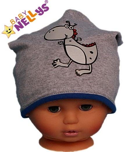 Bavlněná čepička Dino Baby Nellys ® - šedá - modrý lem