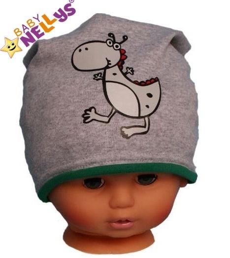 Bavlněná čepička Dino Baby Nellys ® - šedá - zelený lem