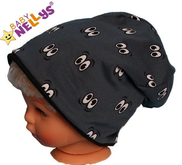 Bavlněná čepička s očičkami Baby Nellys ® - grafit