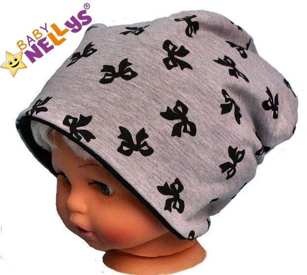Bavlněná čepička s mašličkami Baby Nellys ® - šedý melírek, Velikost: 50/52 čepičky obvod