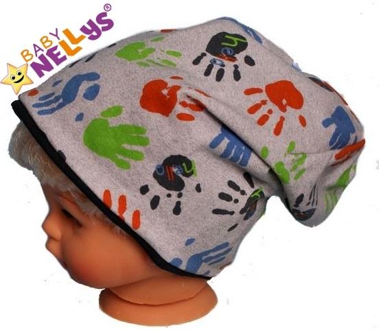 Bavlněná čepička s ručičkami Baby Nellys ® - šedá
