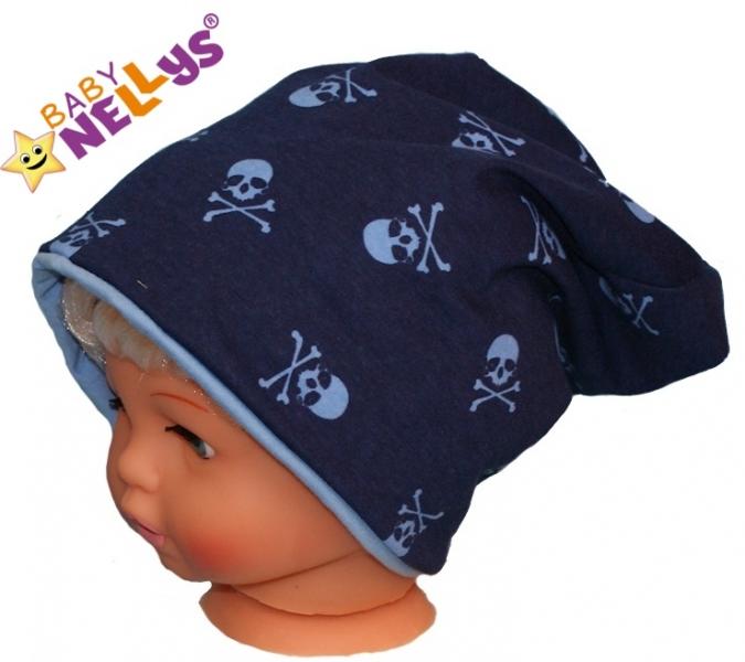 Bavlněná čepička s lebkami Baby Nellys ® - tm. modrá