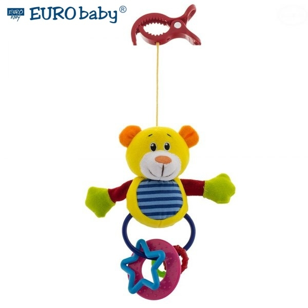 Euro Baby Plyšová hračka s klipem a chrastítkem  - Medvídek, Ce19
