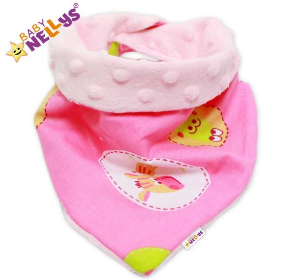 Dětský šátek/bryndáček na krk Baby Nellys ® MINKY - ZEBRA růžová/sv.růžová