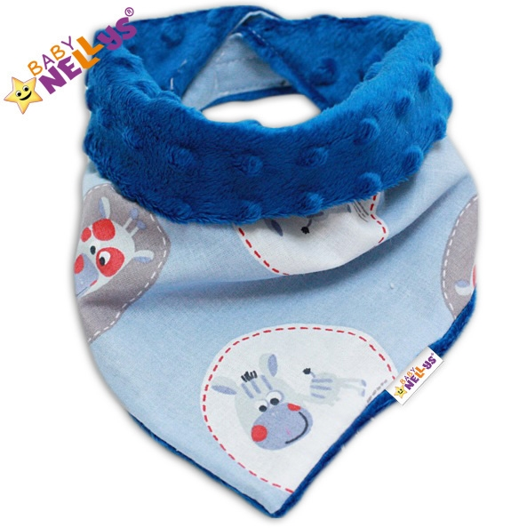 Dětský šátek/bryndáček na krk Baby Nellys ® MINKY - ZEBRA sv. modrá/tm. modrá
