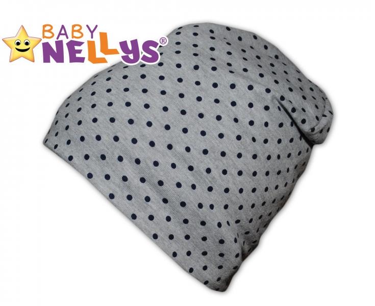 Bavlněná čepička s granátovými puntíky Baby Nellys ® - šedá, Velikost: 50/52 čepičky obvod