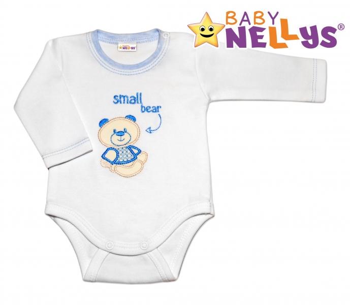 Body dl. rukáv  Baby Nellys®- Baby Bear - modrý lem, Velikost: 86 (12-18m)