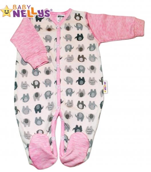 Overálek SLONÍK Baby Nellys ® - růžový melírek