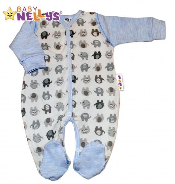 Overálek SLONÍK Baby Nellys ® - modrý melírek