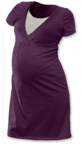Těhotenská, kojící noční košile JOHANKA krátký rukáv - švestková, Velikost: M/L