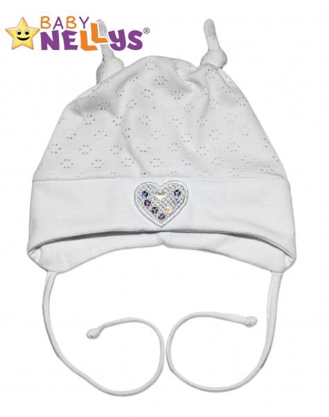Bavlněná čepička Srdíčko Baby Nellys ® - bílé