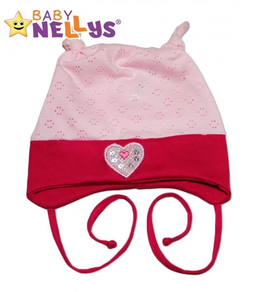 Bavlněná čepička Srdíčko Baby Nellys ® - sv.růžová/tm. růžová