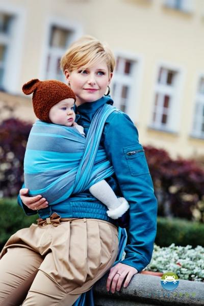 Little FROG Tkaný šátek na nošení dětí - Aquamarine