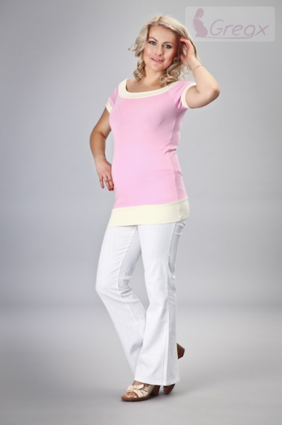 Gregx Elegantní těhotenské kalhoty JEANS - bílá