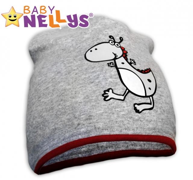 Bavlněná čepička Dino Baby Nellys ® - šedá - červený lem