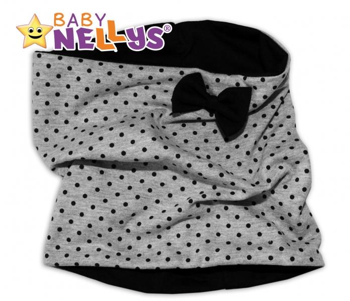 Nákrčník/komínek s granátovými puntíky a mašličkou Baby Nellys ® - šedý