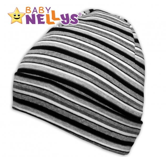 Bavlněná čepička Baby Nellys ® - Proužky bílo, šedé, černé