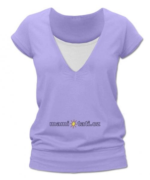 Kojící,těhotenské triko JULIE - šeříková
