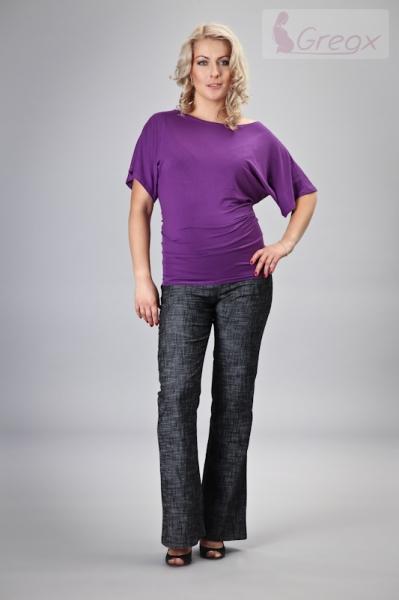 Gregx Elegantní těhotenské kalhoty JEANS - černý melír