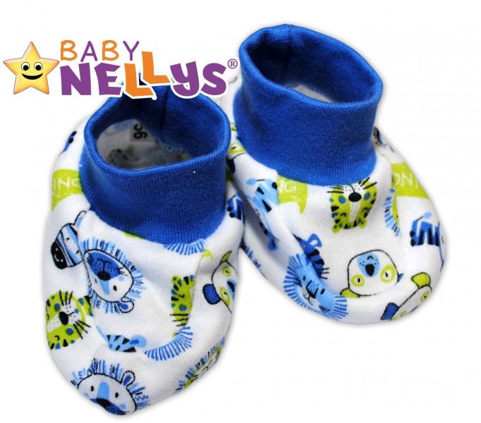 Botičky/ponožtičky Baby Nellys ® - Hello Lion - modrý lem