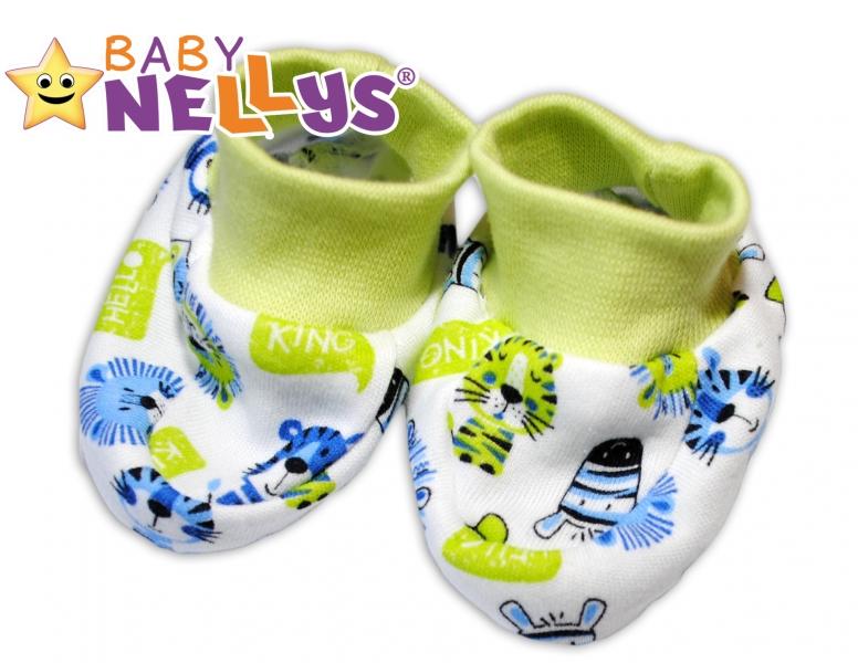 Botičky/ponožtičky Baby Nellys ® - Hello Lion - zelený lem