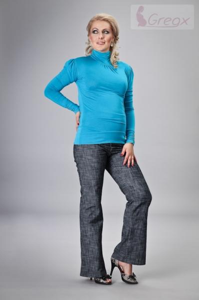 Elegantní těhotenské kalhoty JEANS - granátový melír (barva: Granátový melír, vel. L)