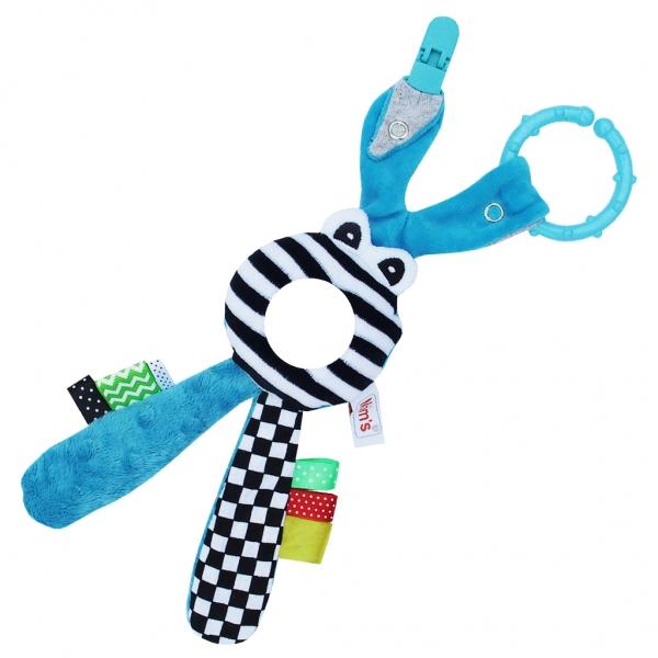 Hencz Toys Edukační hračka Hencz s chrastítkem  - Zajíček - zrcátko -modrý