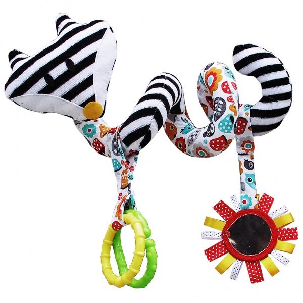 Hencz Toys Edukační hračka Hencz s chrastítkem a zrcátkem  - LIŠKA - spirálka -bílo-černá