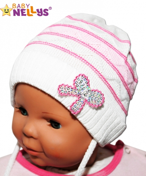 Čepička Proužek Baby Nellys ® na zavazování - bílá, Velikost: 38/40 čepičky obvod