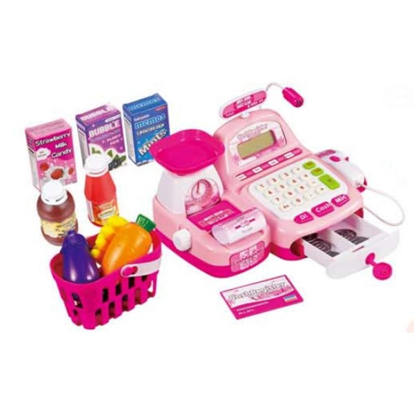 Dětská pokladna elektronická s doplňky - růžová