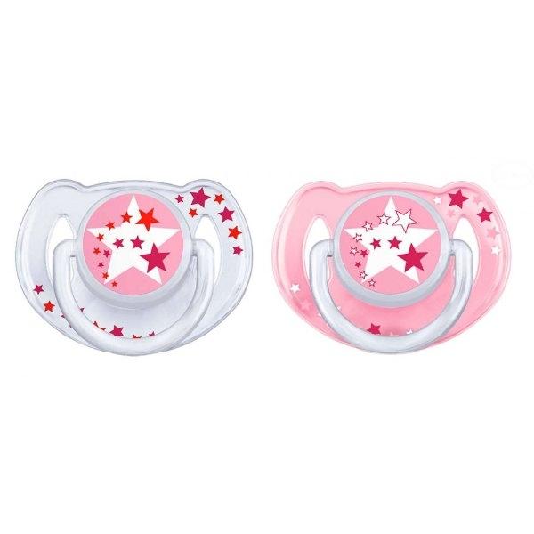 Dudlíky Avent NOČNÍ 6 - 18m - hvězdičky růžové