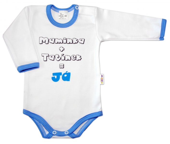 Baby Nellys Body dl. rukáv vel. 74, Maminka + tatínek = Já - modrý lem
