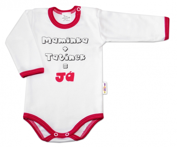 Baby Nellys Body dl. rukáv vel. 74, Maminka + tatínek = Já - tm.růžový lem