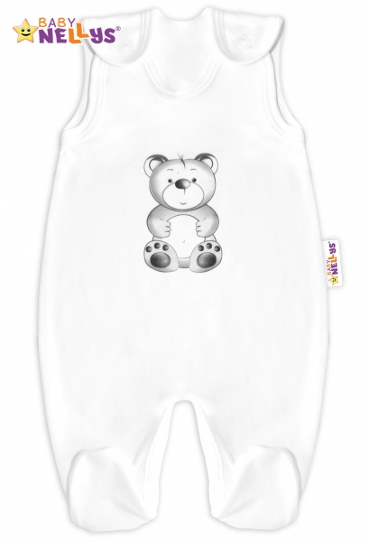 Baby Nellys Bavlněné dupačky Sweet Teddy Bear - bílé