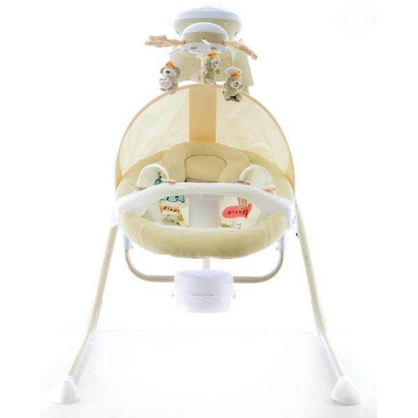 Dětská elektrická houpačka a lehátko - smetanové (EB 320)