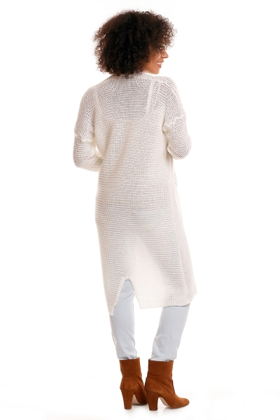 Be MaaMaa Svetříkový plášť s kapsami MERY - bílý