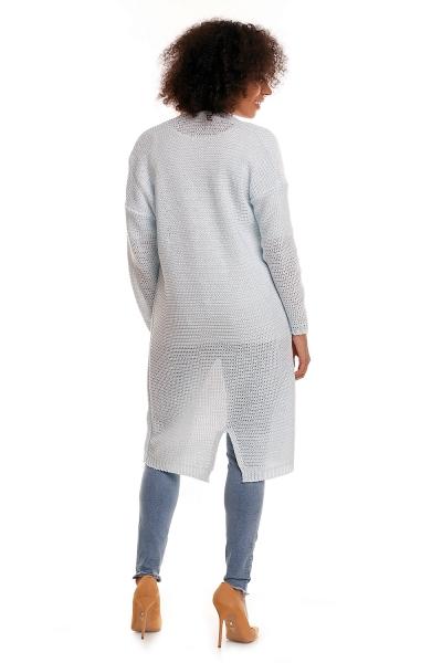 Be MaaMaa Svetříkový plášť s kapsami MERY - sv. modrý