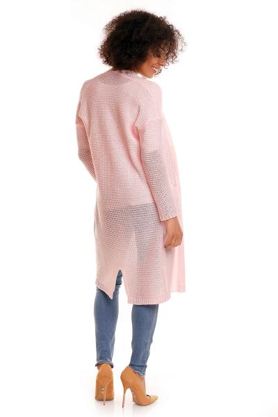 Be MaaMaa Svetříkový plášť s kapsami MERY - sv. růžový