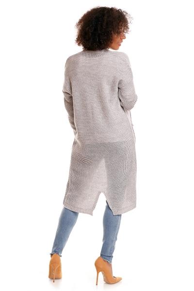Be MaaMaa Svetříkový plášť s kapsami MERY - šedý