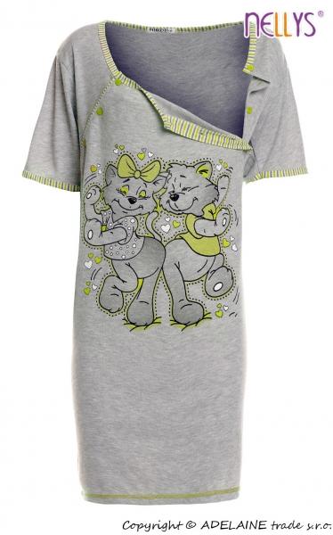 Těhotenská, kojící noční košile Kočky - šedá/zelená