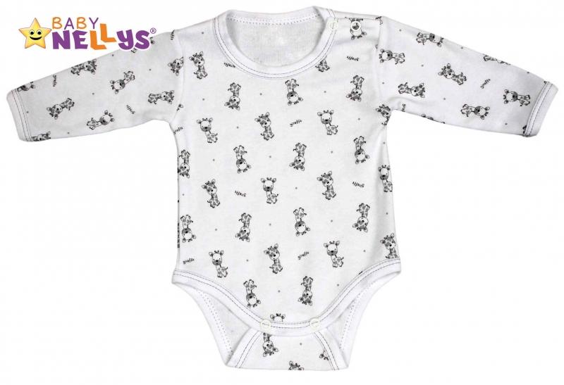 Body dlouhý rukáv  Baby Nellys® - Giraffe - šedá, Velikost: 80 (9-12m)