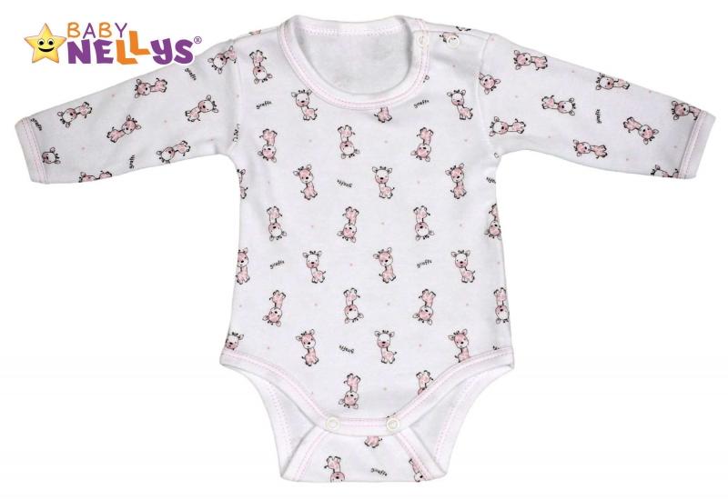 Body dlouhý rukáv  Baby Nellys® - Giraffe - růžová, Velikost: 86 (12-18m)
