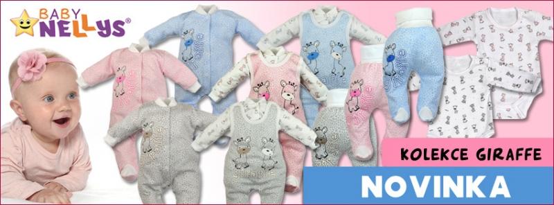 Body dlouhý rukáv  Baby Nellys® - Giraffe - růžová