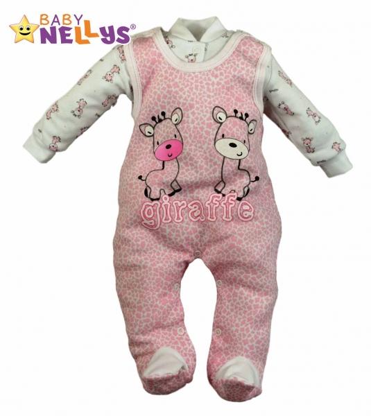 Dupačky a košilka Baby Nellys ® Giraffe - růžová