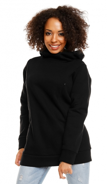 Těhotenská a kojící mikina s kapucí, vel. XL - černá