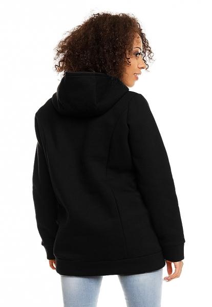 Be MaaMaa Těhotenská a kojící mikina s kapucí, vel. XL - černá